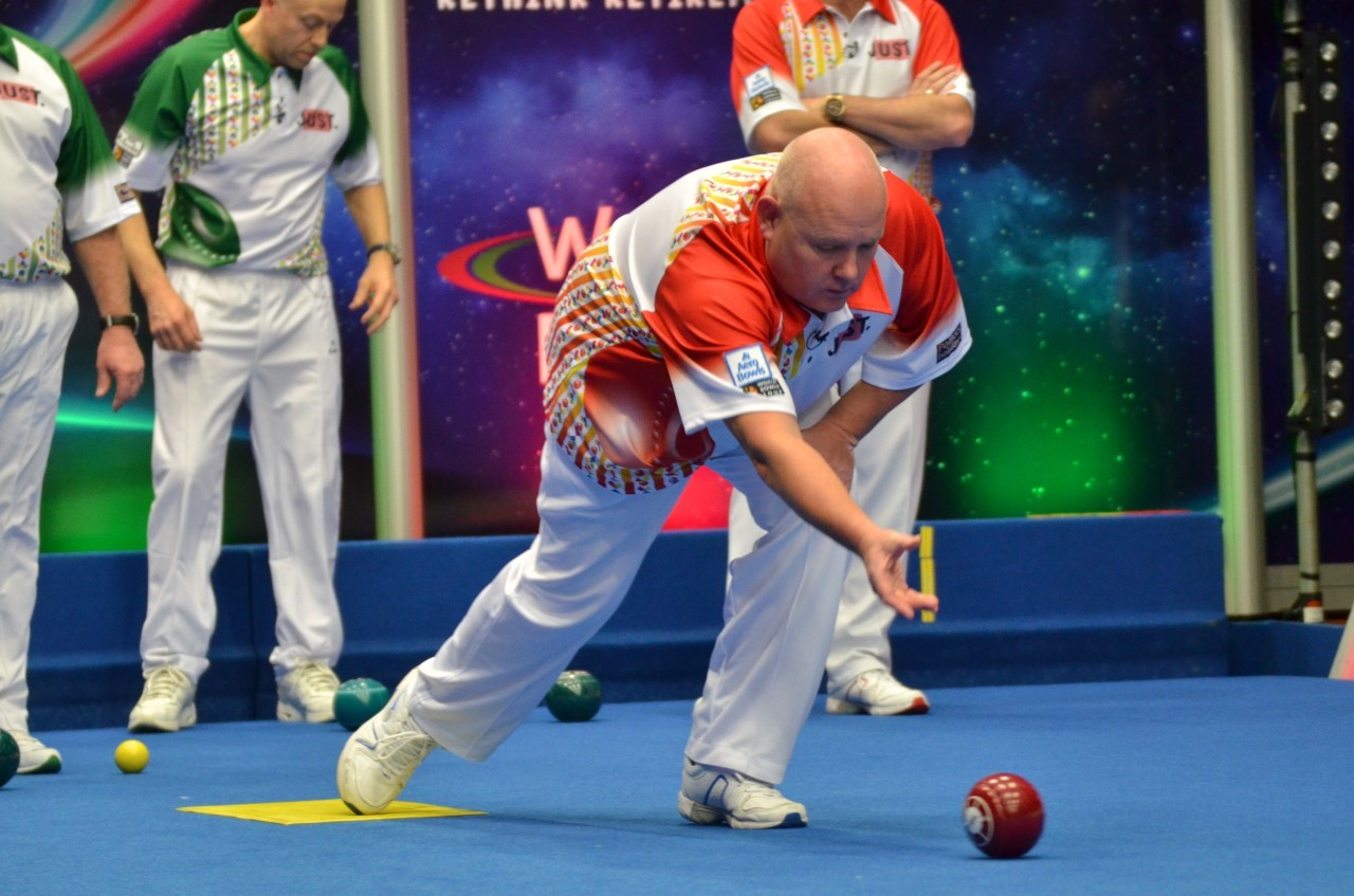 Alex Marshall in action at last year's pairs tournament. Pic courtesy World Bowls Tour
