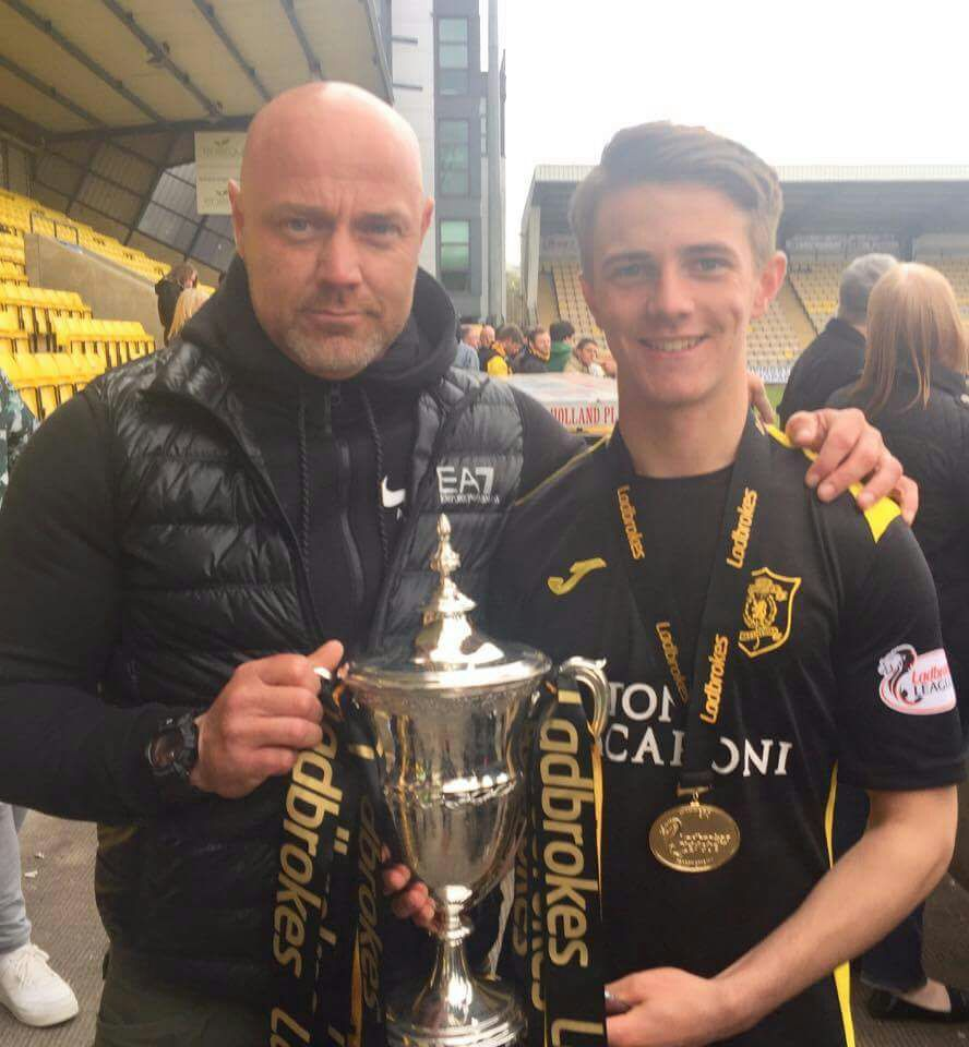 Matthew Knox with his dad, Matthew Snr, celebrating Livingston's League One title win last season. The teenager has agreed a loan return to League One with East Fife