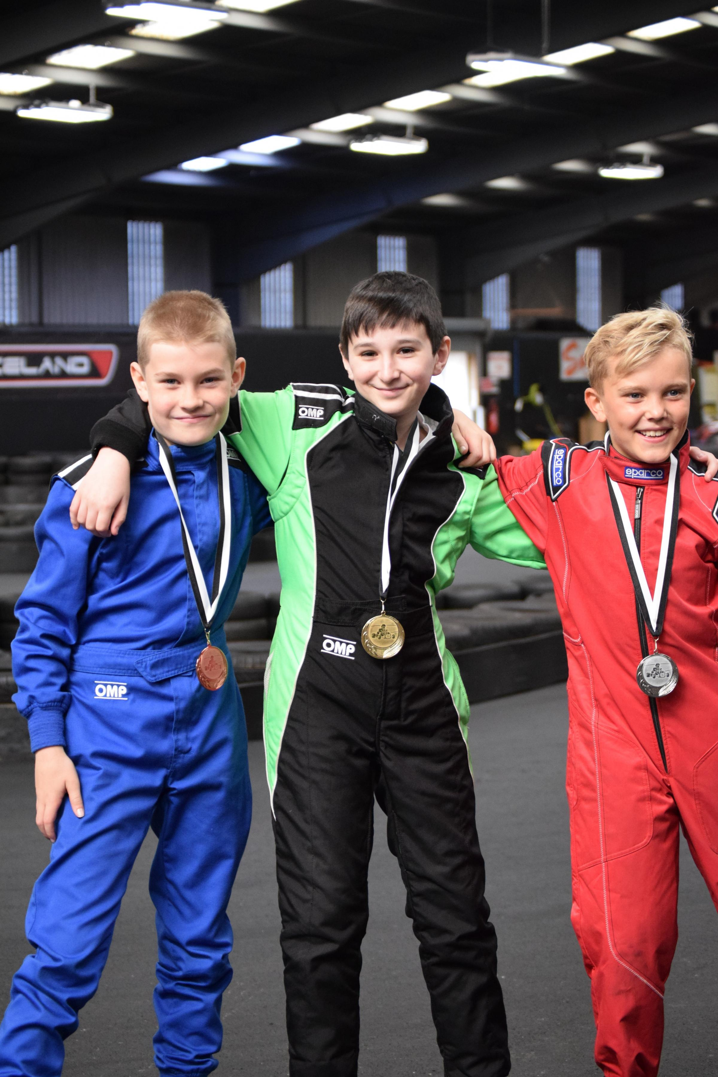 Josh Golightly ( Tranent ) Dan Moncur ( Wallyford ) and Connor Leishman took top places in the Karting Cadet Championship at Raceland