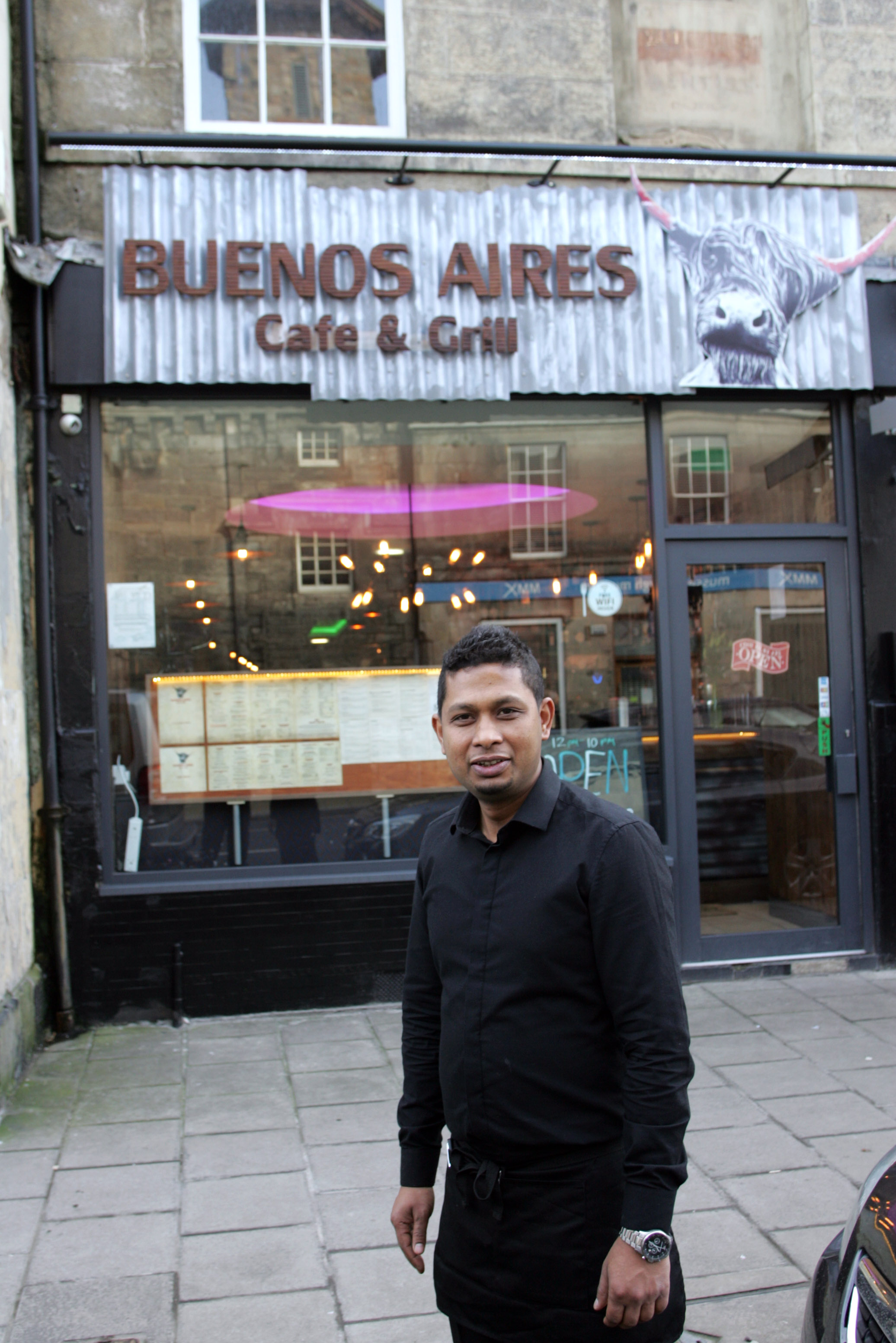 General manager Mohammad Nazim Ahmed outside Buenos Aires Cafe & Grill