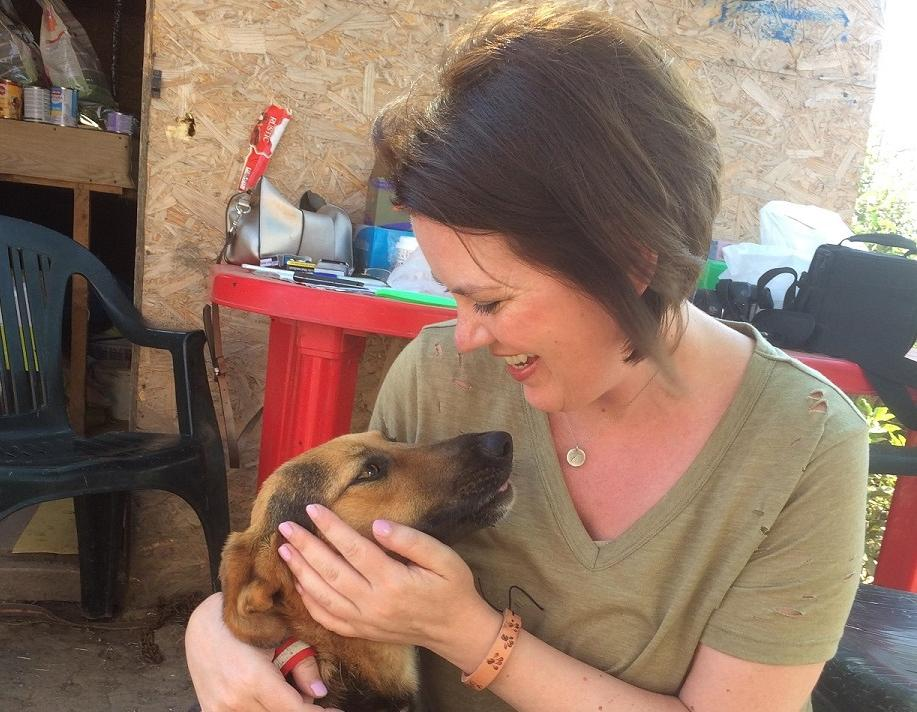 Carla Cross on a trip to Romania to help charity Barking Mad Dog Rescue