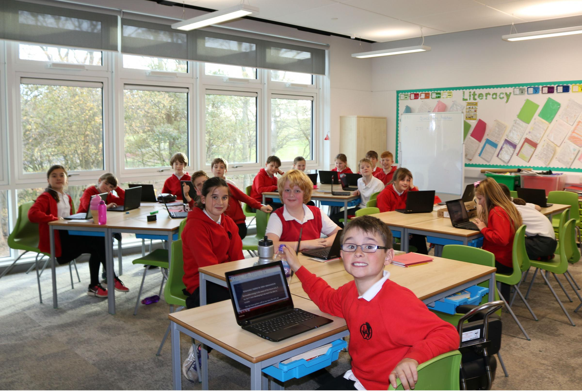 Law Primary School pupils pictured in the new school extension