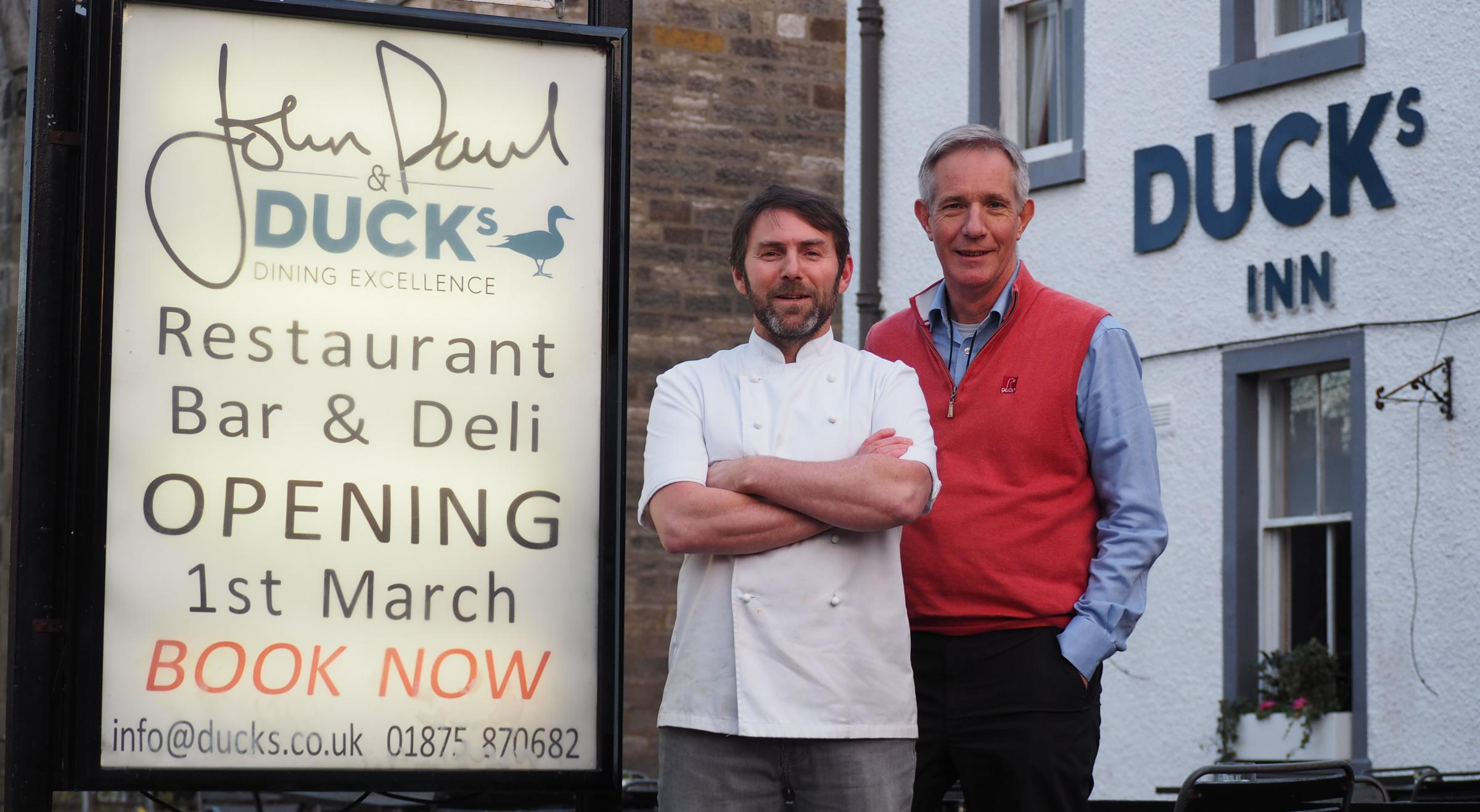 JP McLaughlin with Malcolm Duck (right) outside the premises in Aberlady. They open this week