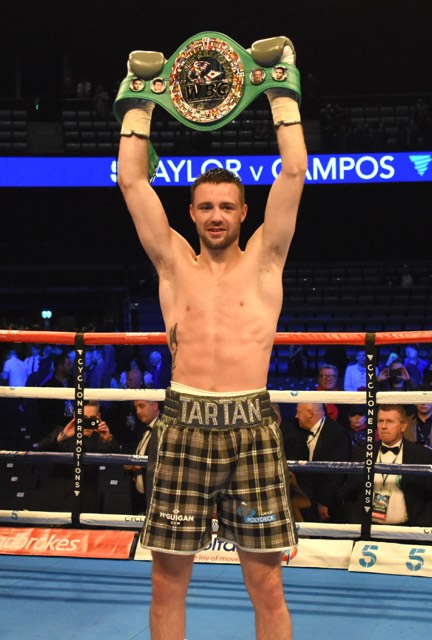 Josh Taylor holds his WBC Silver super lightweight title aloft after beating Winston Campos this evening (Saturday). Image Jennifer Charlton Photography