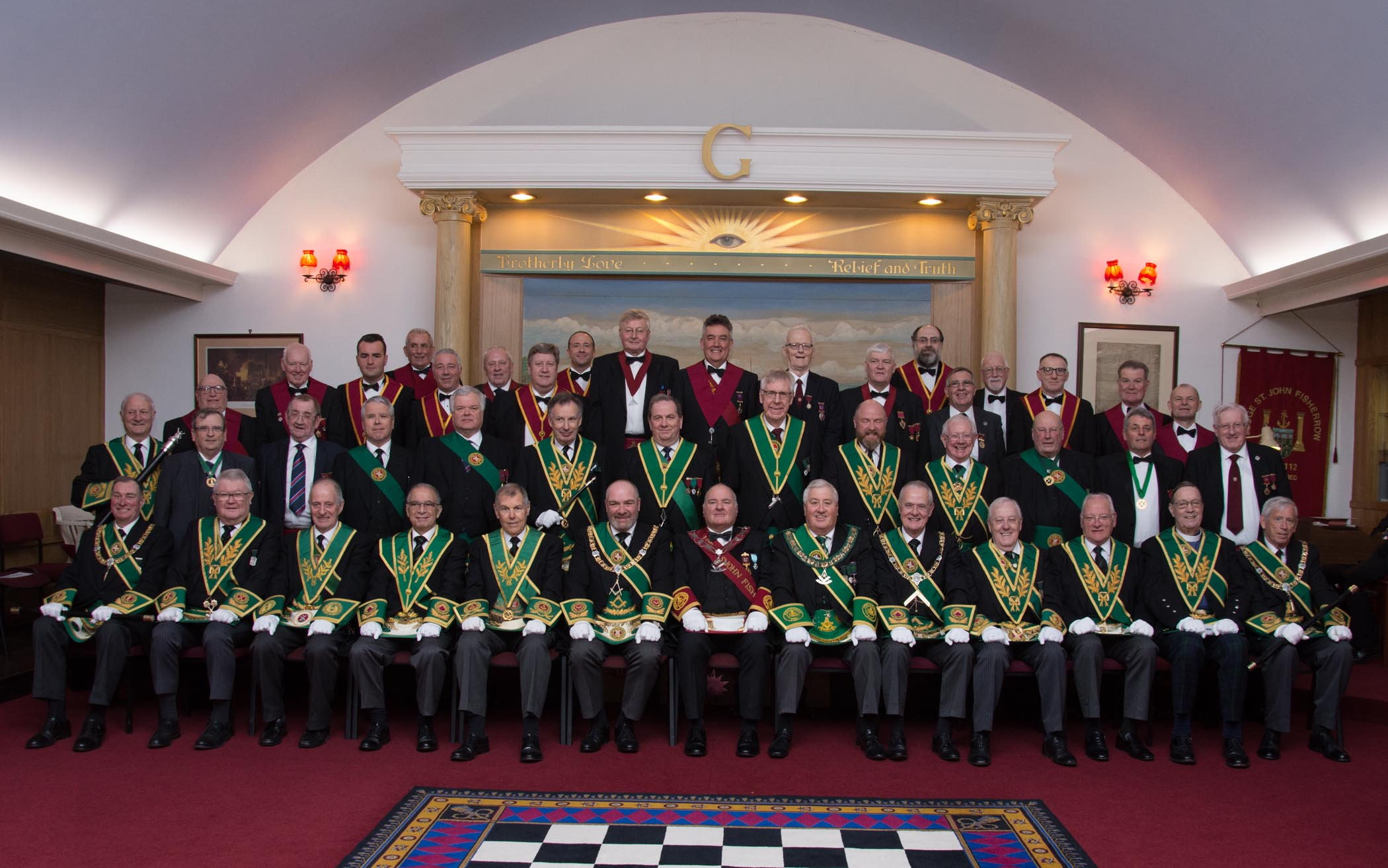 Brother John Thorburn, the right worshipful master of the Lodge St John Fisherrow, and other office bearers are joined by guests from the Grand Lodge of Scotland and Provincial Grand Lodge of Midlothian at the 250th anniversary rededication ceremony
