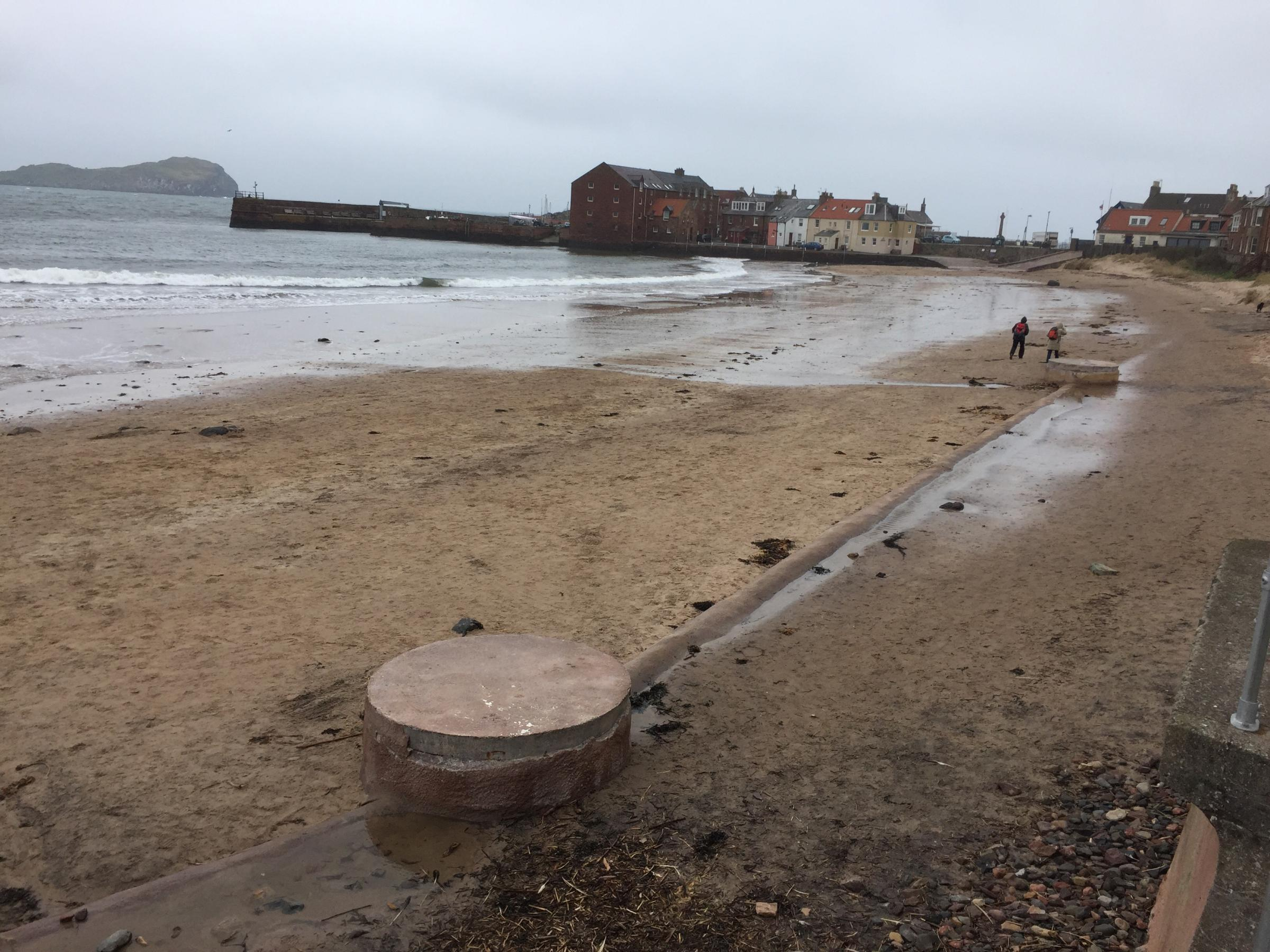 The sewage pipe is now exposed at West Beach