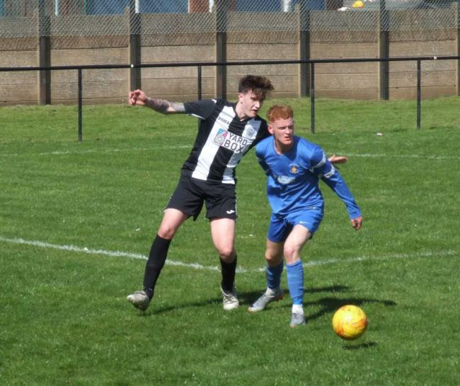 Action from Saturday's game as Preston Athletic (blue) take on Leith Athletic. Image Craig Gordon