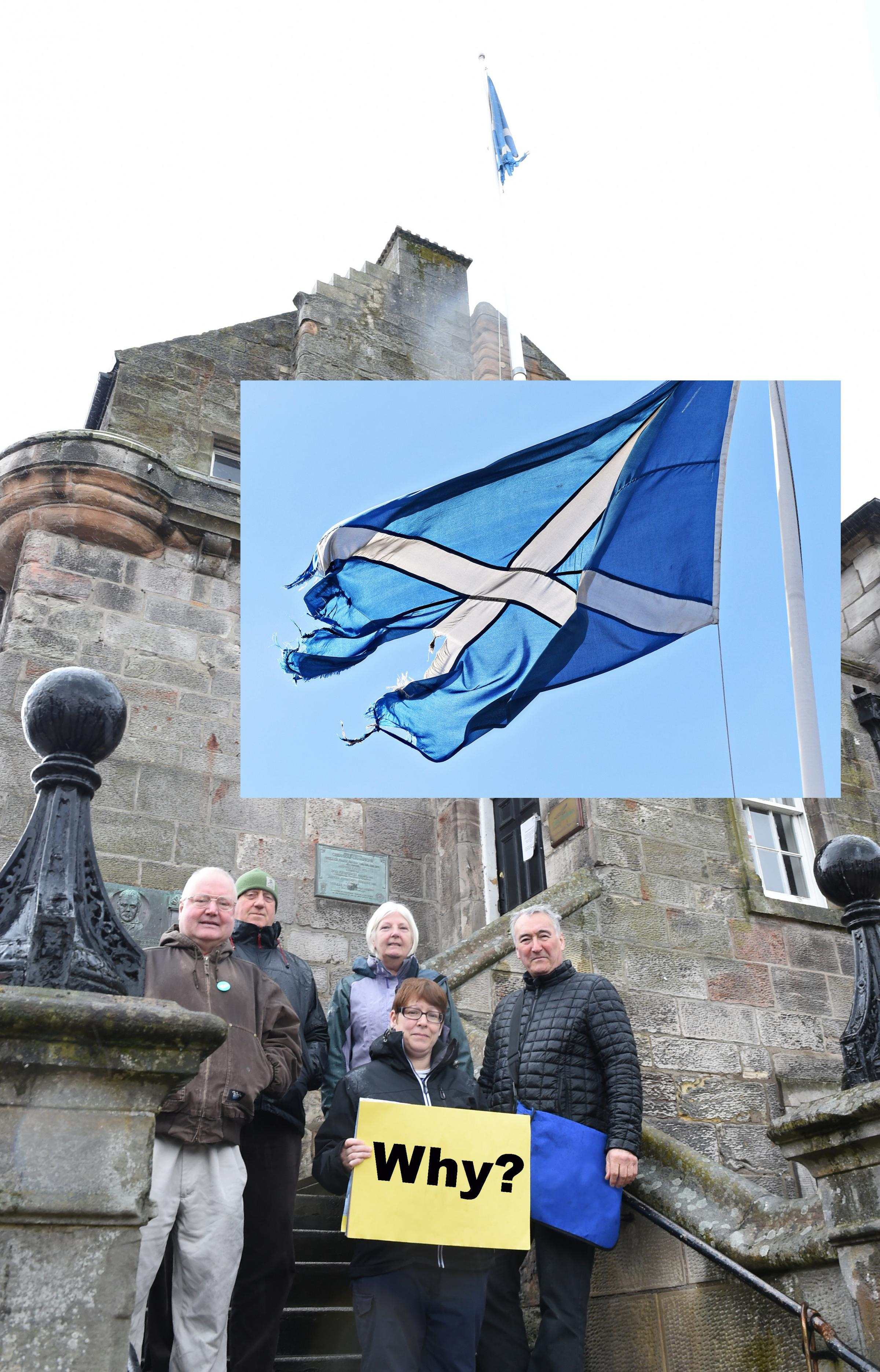 Yes Musselburgh members Francis Buchanan, Ian Allan, Wilma Veitch, Debbie Bruce and Fraser McAllister are up in arms at the state of the of the Saltire which flies above Musselburgh Old Town Hall.