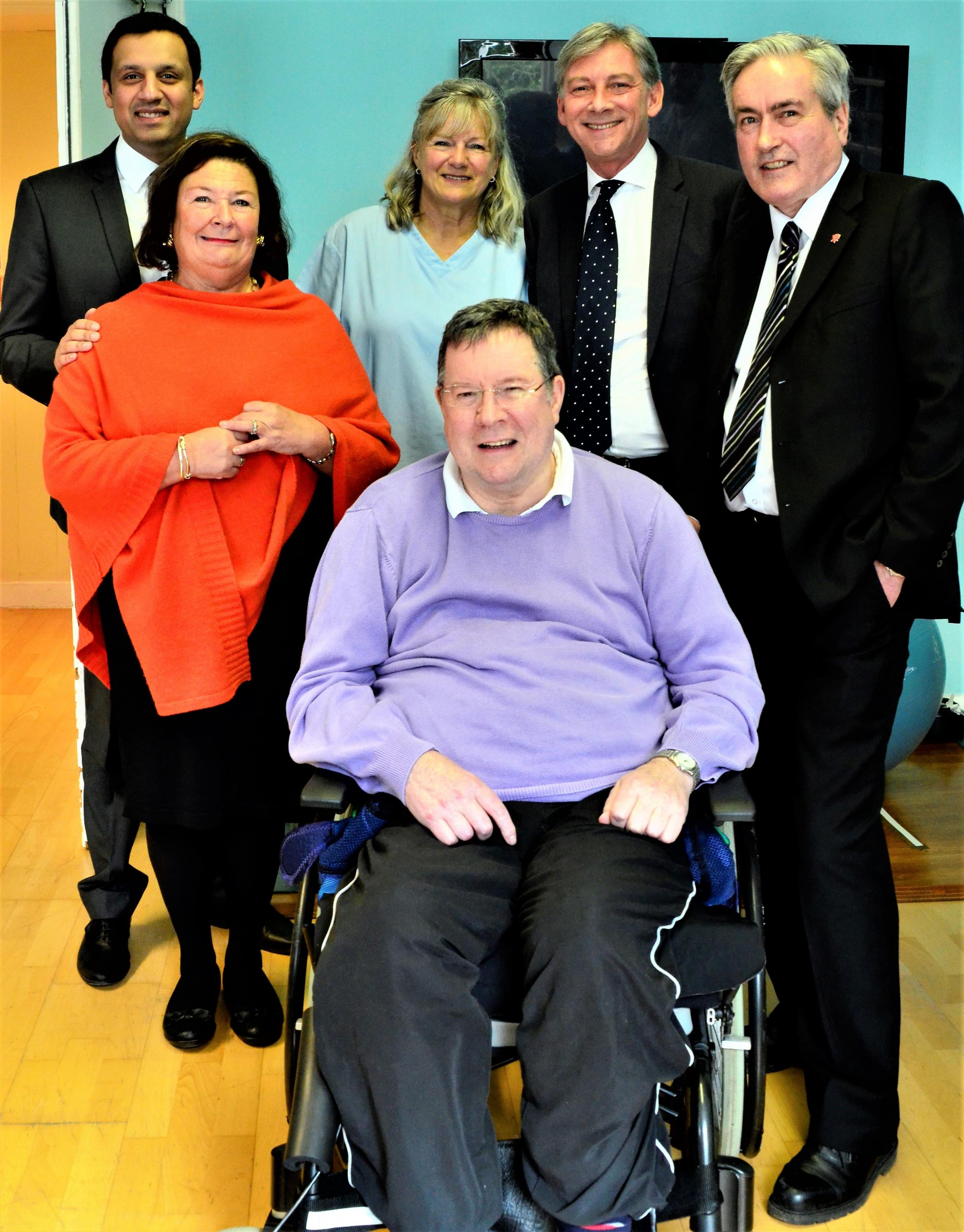 Scottish Labour leader Richard Leonard, Anas Sarwar MSP and local MSP Iain Gray visited Leuchie House