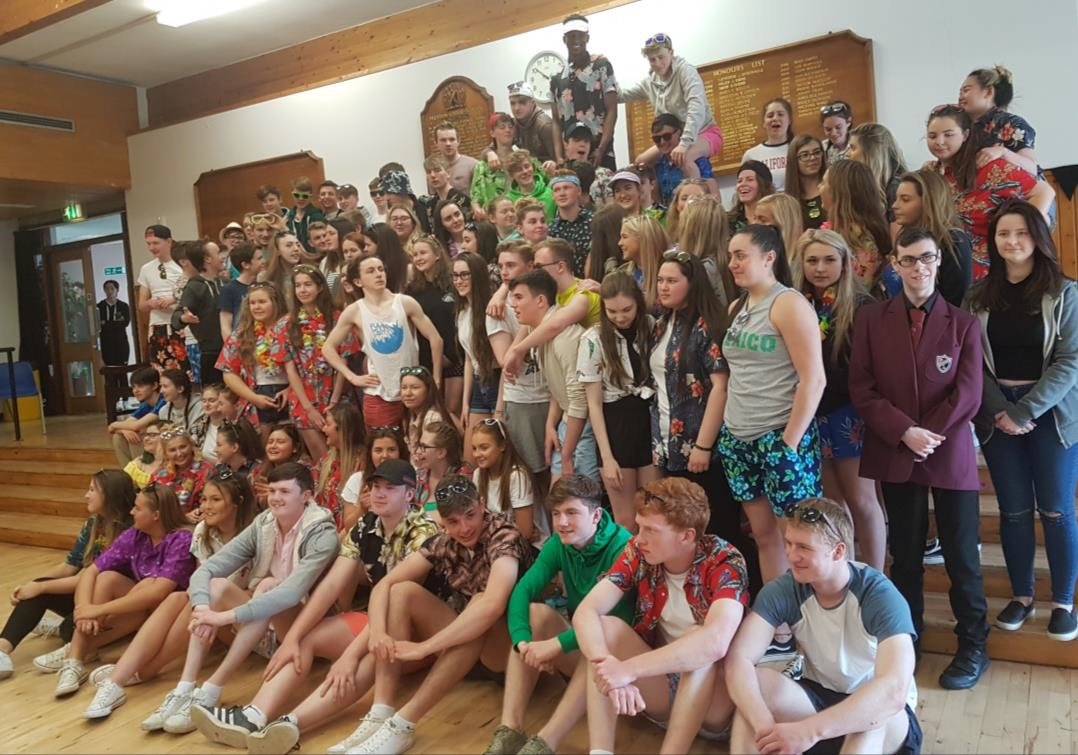 A beach-themed goodbye from S6 students at Preston Lodge High School