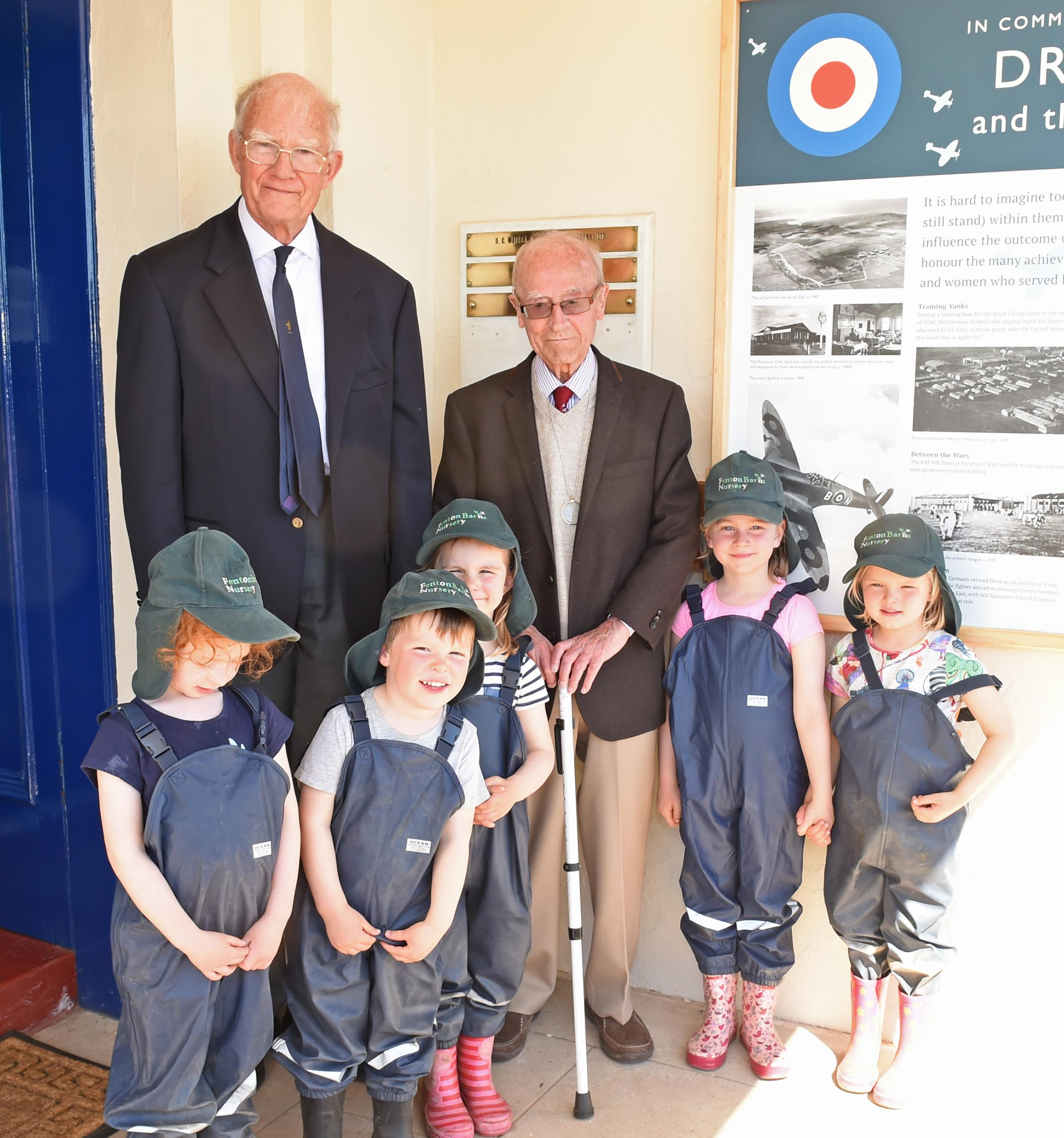 Youngsters from Fenton Barns Nursery were at the official unveiling of Drem Airfield board with veteran Gordon Mills and Michael Thomson, chairman of Gullane and Dirleton History Society