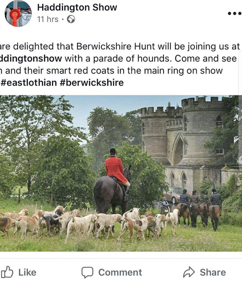 The Haddington Show shared the news of the Berwickshire Hunt's attendance in a since-deleted Facebook post