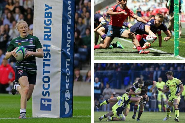 Musgrove, Elms (top right) and Miller are all in international 7s action this weekend. Images courtesy Scottish Rugby/SNS