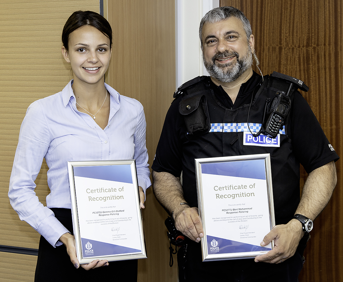Constables Gemma Gill-Stafford and Bert Mohammed showed quick thinking to rescue a woman from the River Esk in Musselburgh.