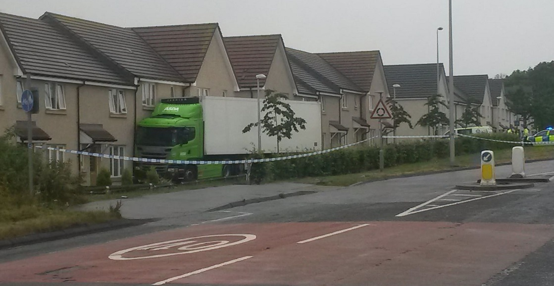 The lorry following the crash on Steading View in July