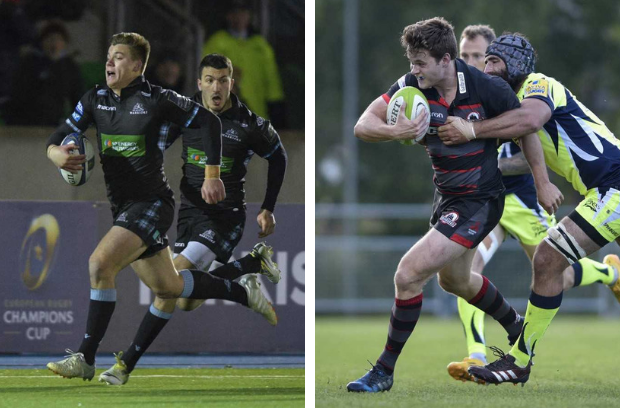 Huw Jones (left) and Chris Dean, will line up at outside centre for Glasgow Warriors and Edinburgh Rugby respectively tomorrow (Saturday). Both images: Alastair Ross/Novantae Photography