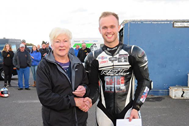 Paul McClung with Margaret Hislop - mum of ex-Scottish and British champion Steve. Images Sylvia Beaumont