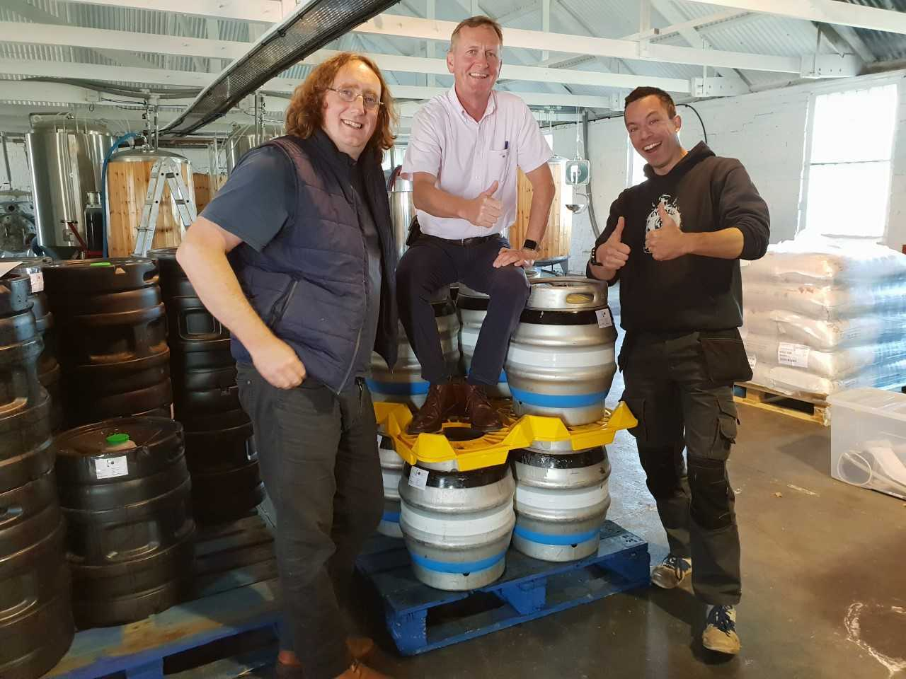 Beers and ciders will be on offer when the Nether Abbey Beer Festival returns next month. Pictured, from left: Peter Stuart, from Thistly Cross Cider, Stirling Stewart, of Nether Abbey Hotel, and James Dempsey, from Eyeball Brewing