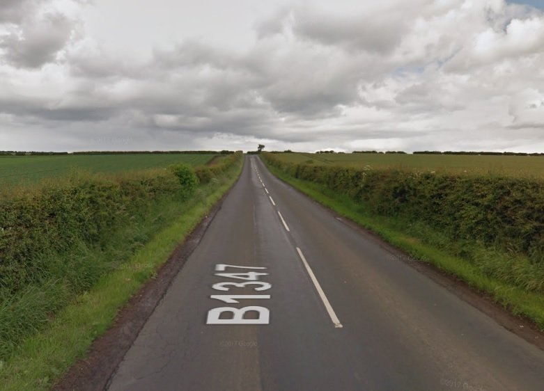 A section of the B1347 has been closed. Image Google Maps