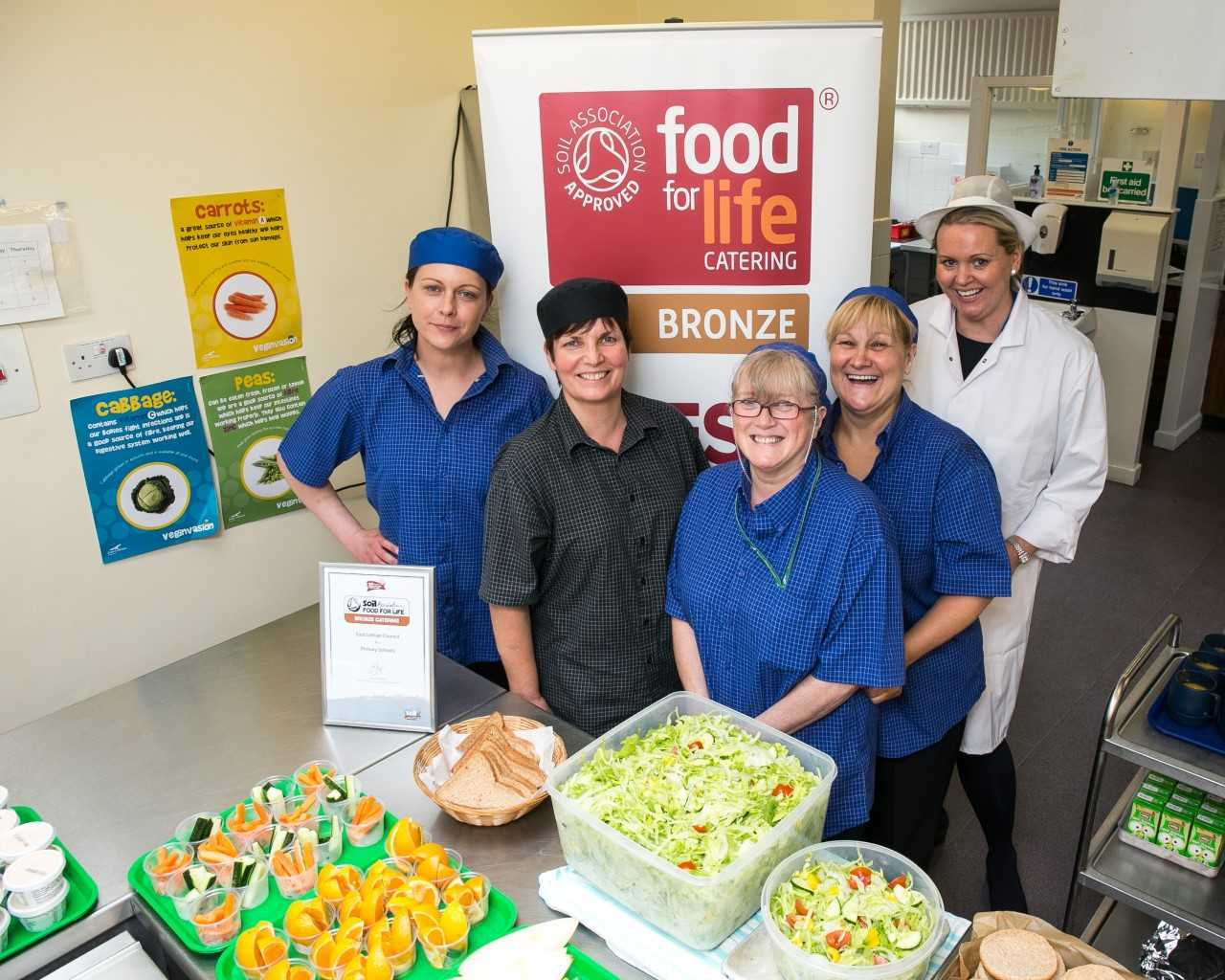 East Lothian Council catering staff celebrate Food for Life Served Here Bronze award