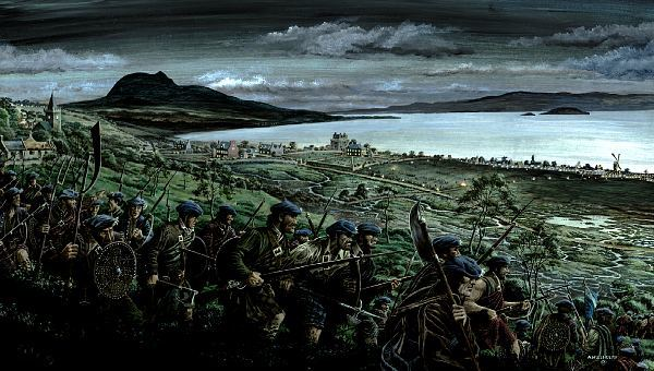 A painting by Andrew Hillhouse depicting the battlefield