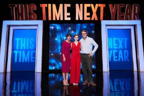 Davina McCall, Laura Regan and Simon Bird on ITV Show 'This Time Next Year'.