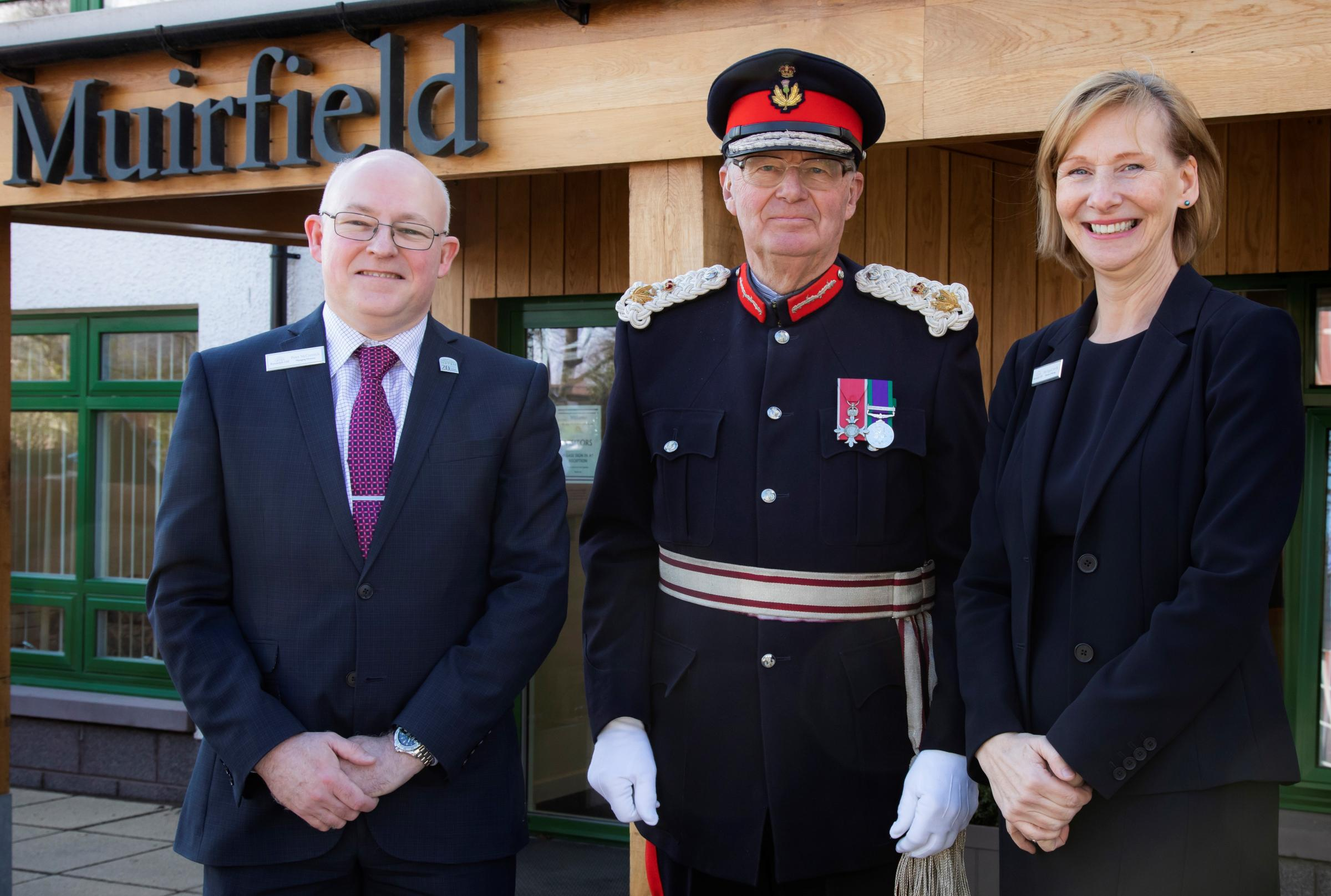 Major Michael Williams MBE, Lord-Lieutenant of East Lothian (centre) was joined by Peter McCormick, Managing Director at Randolph Hill, and Ingrid Neville, Director of Nursing at Randolph Hill, at the opening of Gullane's newest care home