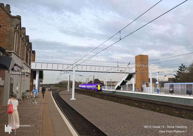 An artist's impression of how the new platform and connecting footbridge at Dunbar Railway Station could look