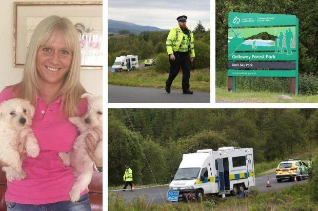 Police in Galloway Forest in Dumfries and Galloway where human remains have been found during the search for missing Emma Faulds (Andrew Milligan/PA Wire)